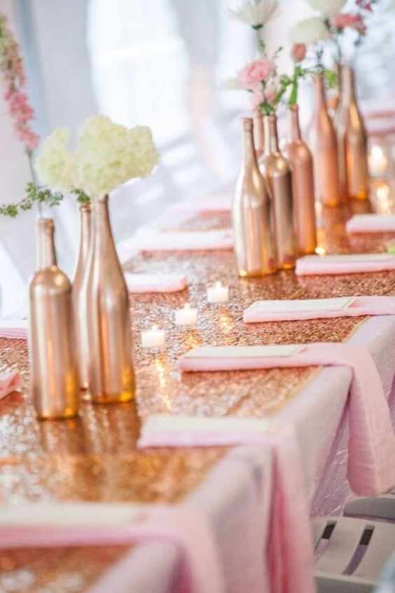 Wedding table decorations for rose gold and blush wedding