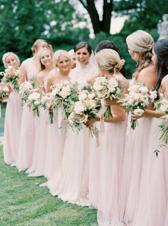 Blush bridesmaid dresses for blush and green wedding