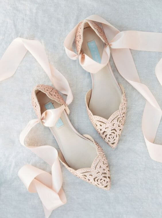 Blush shoes for blush and green wedding