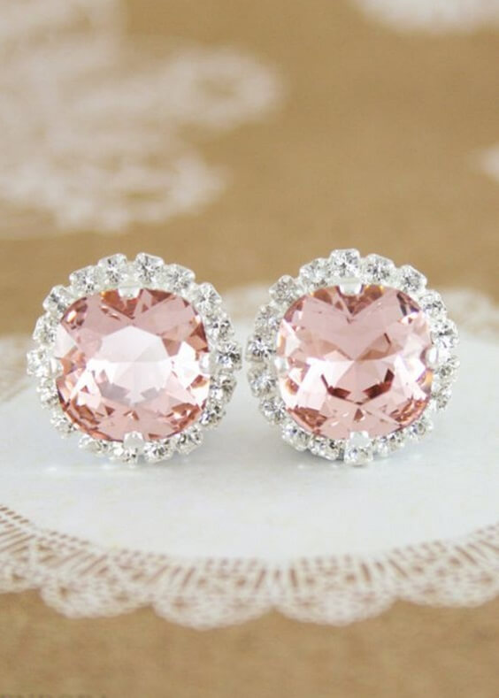 Blush wedding earrings for blush and green wedding