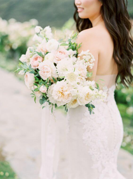 Bridal Gown and blush bouquet for blush and green wedding