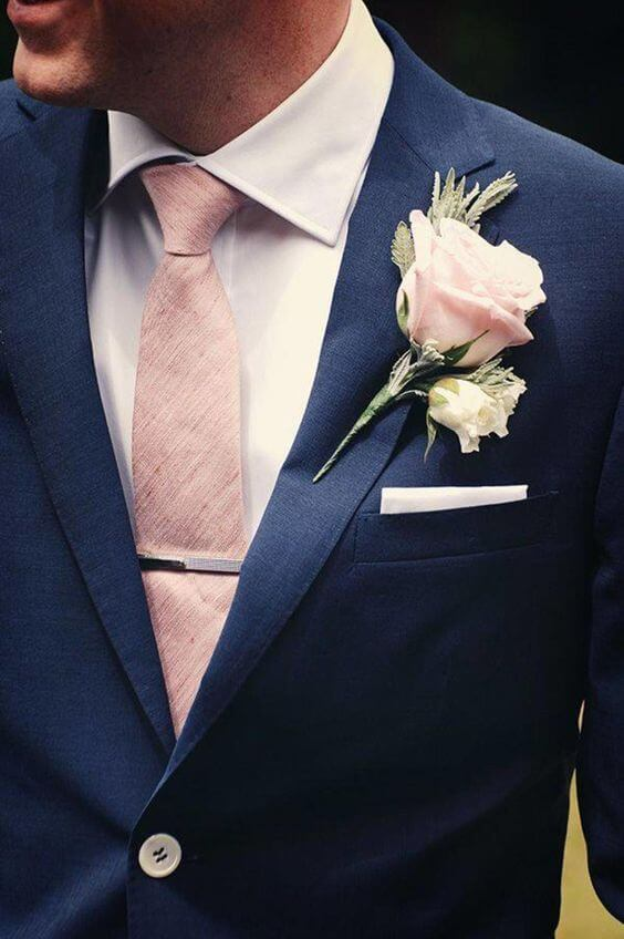 Navy Groom's Suit for blush and green wedding