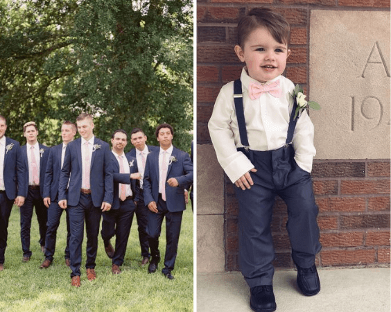 Navy Groomsmen and navy ring bearer for blush and green wedding