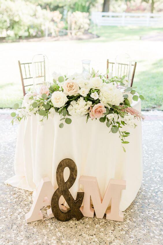 Wedding Table decorations for blush and green wedding