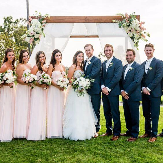 Wedding Party for blush and green wedding