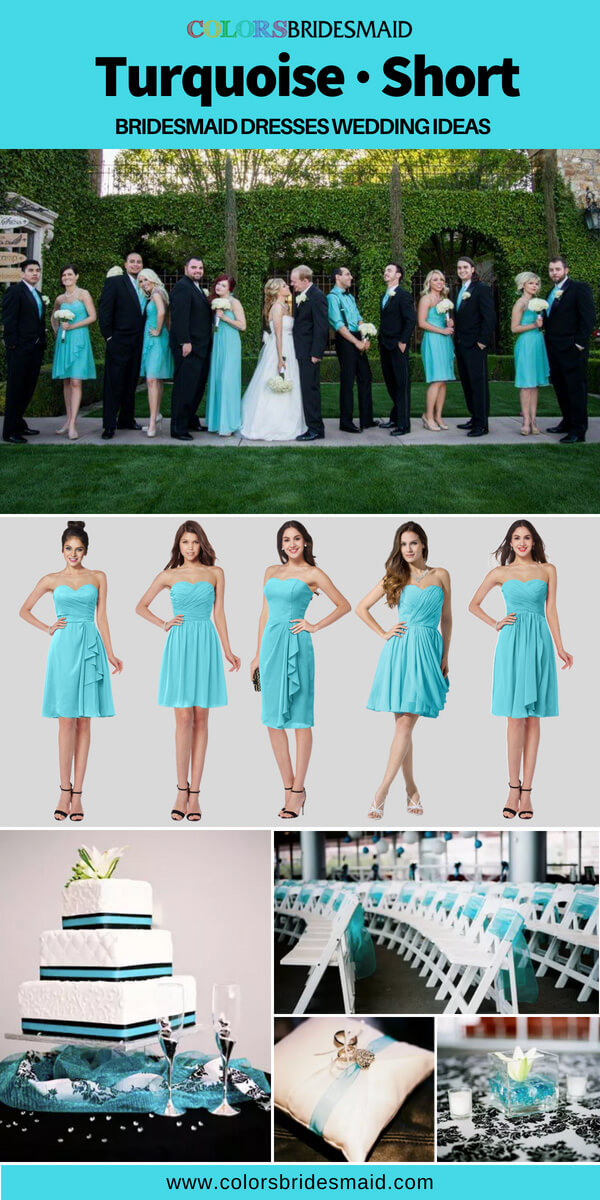 turquoise bridesmaid dresses short