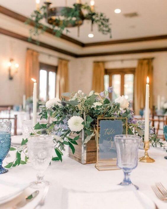 Fall Wedding Ideas Table Decorations: Romantic Dusty Blue Fall Wedding Color Ideas
