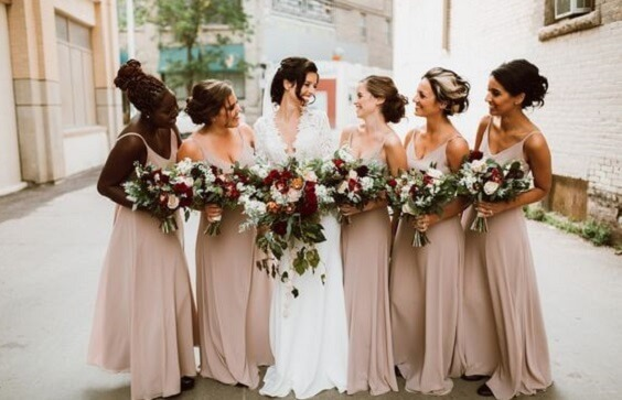 Gorgeous Champagne And Burgundy Fall Wedding Color Ideas