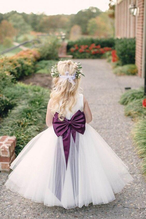 Flower girl for Plum Fall wedding
