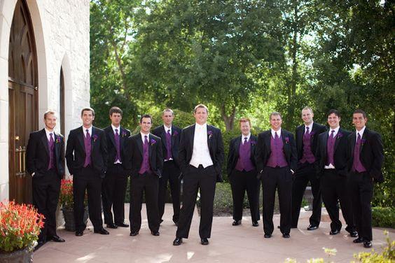 Groom and groomsmen for Plum Fall wedding