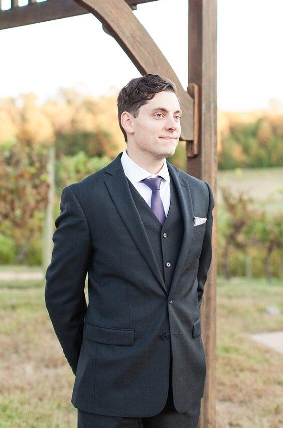 Groom for Plum Fall wedding