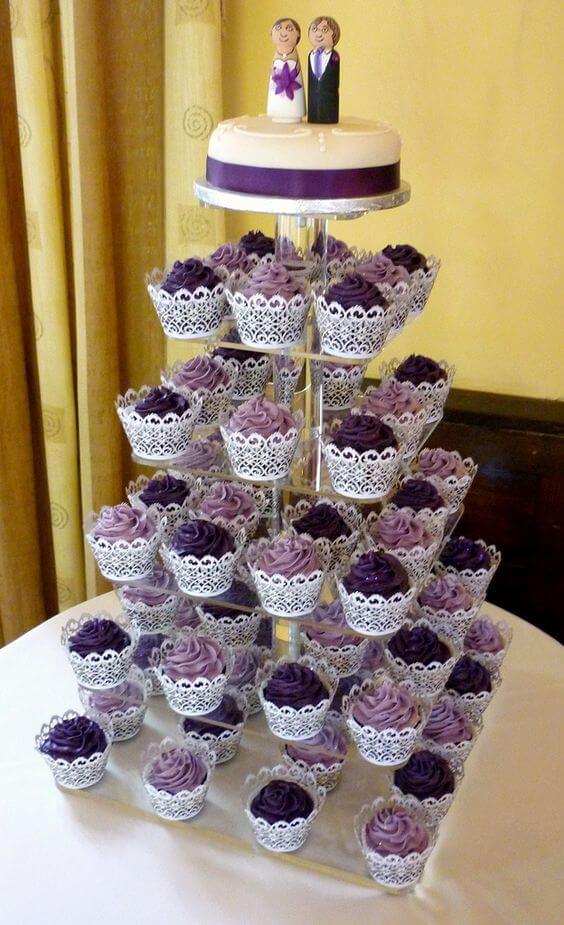 Wedding cupcakes for Plum Fall wedding
