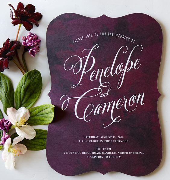 Wedding invitations for Plum Fall wedding