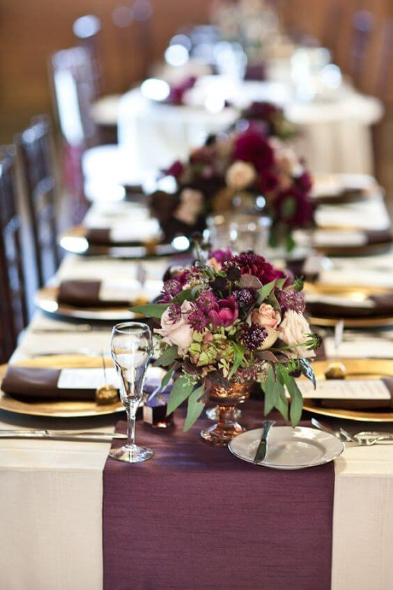 Wedding table decorations for Plum Fall wedding