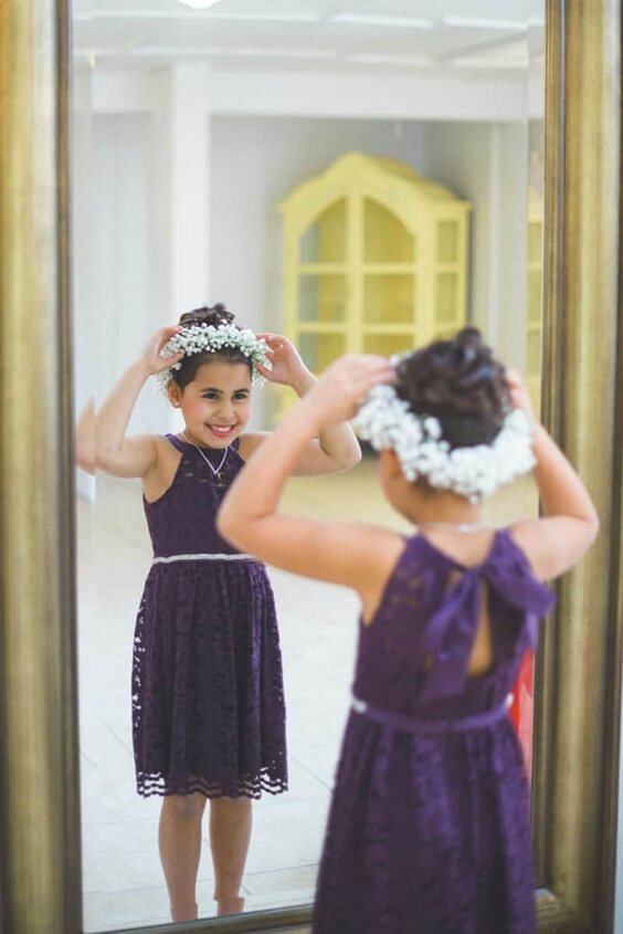 Flower girls for Purple and Grey Fall wedding