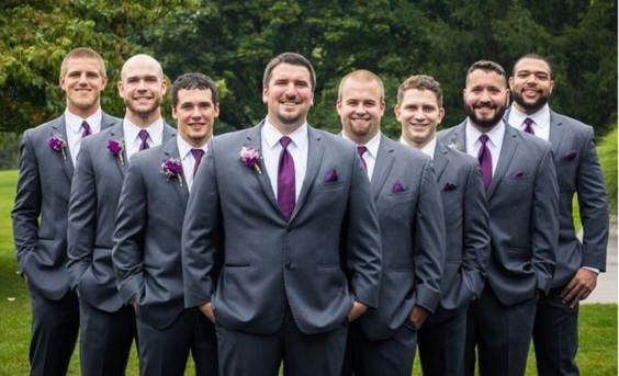 Grey groom and groomsmen for Purple and Grey Fall wedding