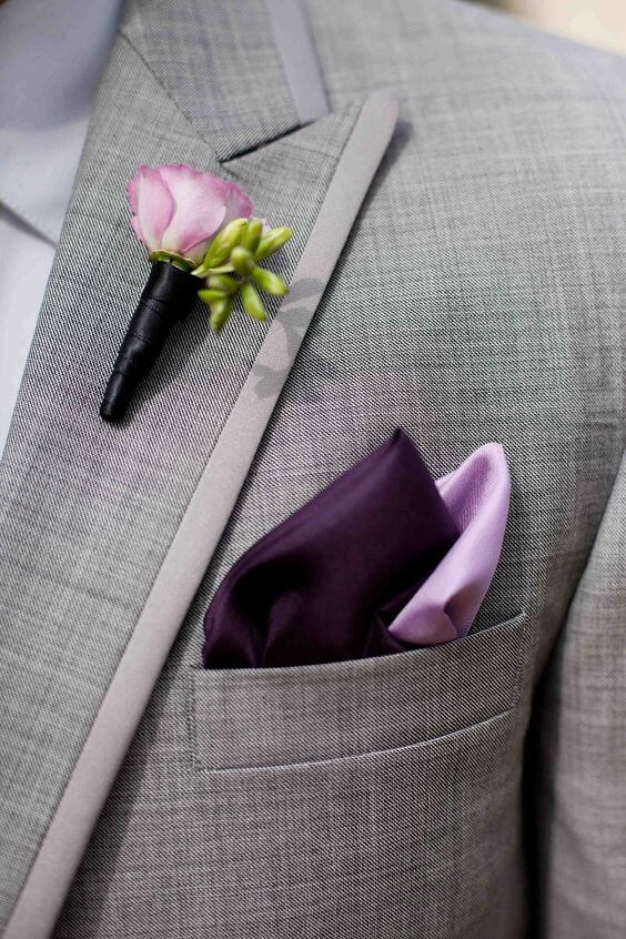 Grey groom for Purple and Grey Fall wedding