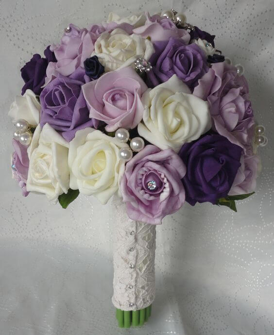 Wedding bouquets for Purple and Grey Fall wedding