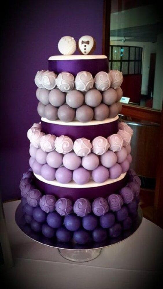 Wedding cake for Purple and Grey Fall wedding