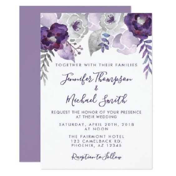 Wedding invitations for Purple and Grey Fall wedding
