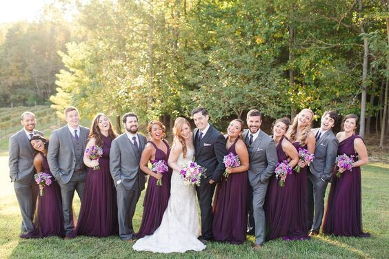 Wedding party for Purple and Grey Fall wedding