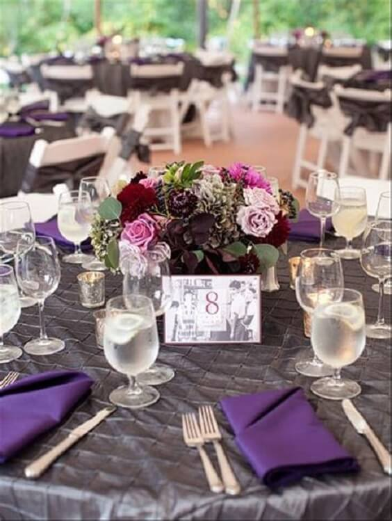 Wedding table decorations for Purple and Grey Fall wedding