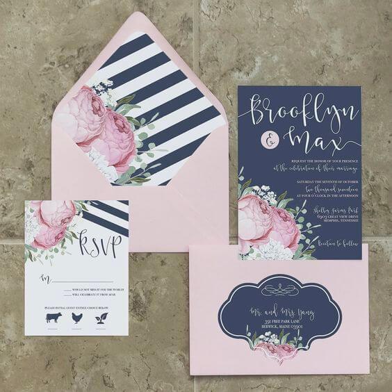 Elegant Fall Color Wedding Inviation: Elegant Navy Blue Fall Wedding Color Ideas