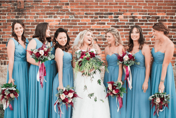 Bridesmaid dresses for burgundy and Dusty Blue wedding