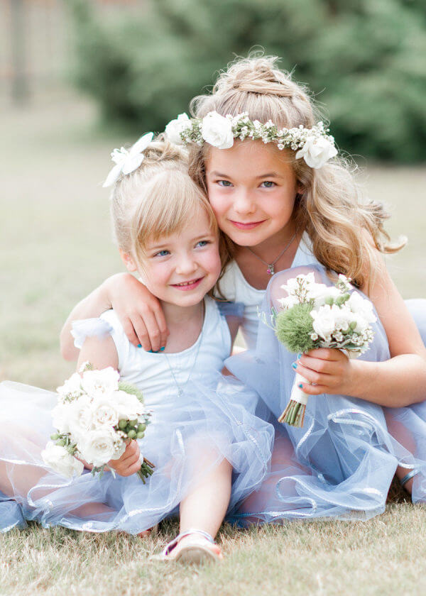 Flower girls for burgundy and Dusty Blue wedding