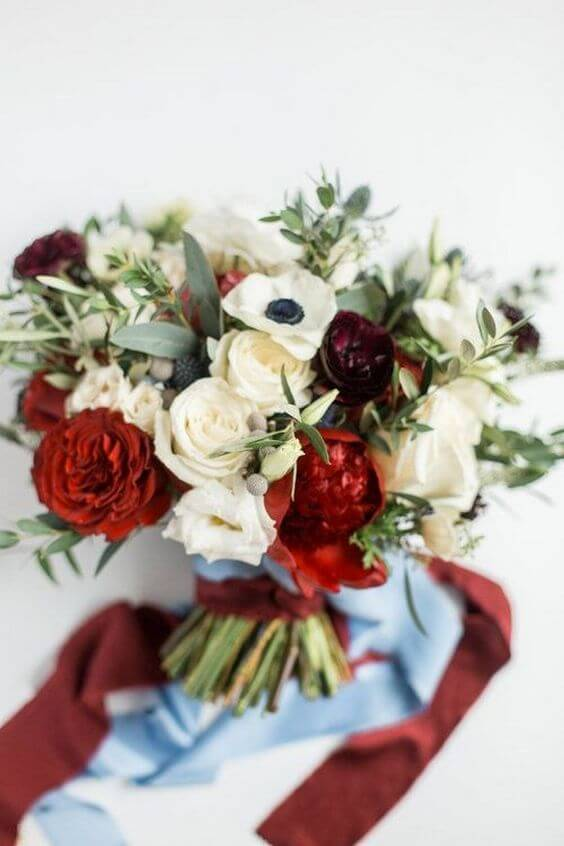 Wedding bouquets for burgundy and Dusty Blue wedding