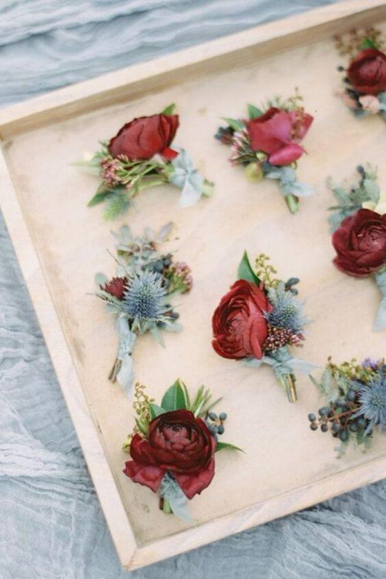 Wedding boutonniere for burgundy and Dusty Blue wedding