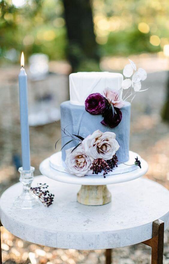 Wedding cake for burgundy and Dusty Blue wedding