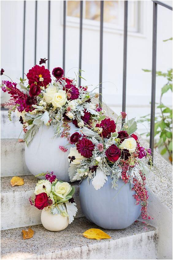 Wedding decorations for burgundy and Dusty Blue wedding