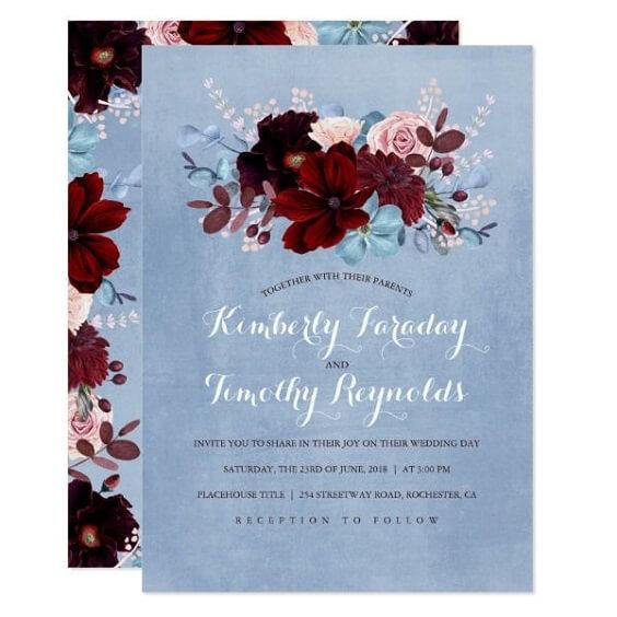 Wedding invitations for burgundy and Dusty Blue wedding