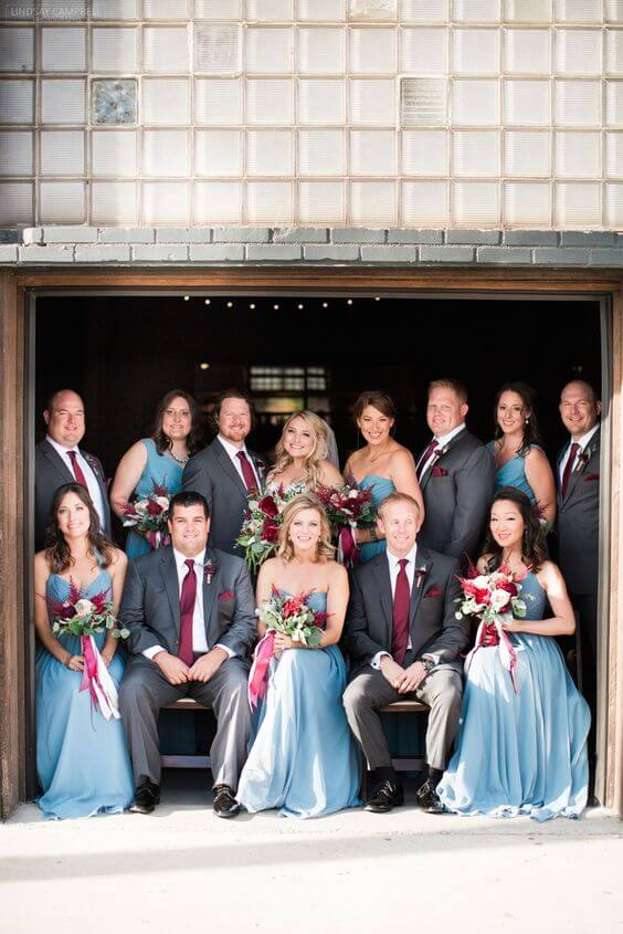 Wedding party for burgundy and Dusty Blue wedding