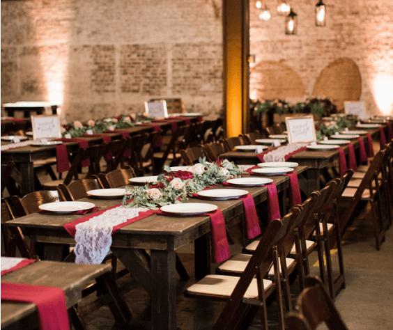 Wedding reception for burgundy and Dusty Blue wedding