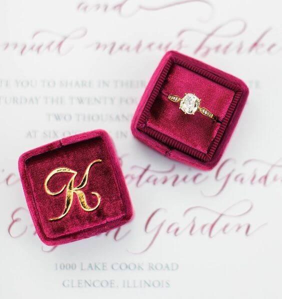 Wedding rings for burgundy and Dusty Blue wedding