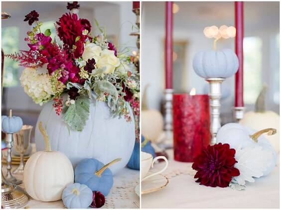 Wedding table decorations for burgundy and Dusty Blue wedding