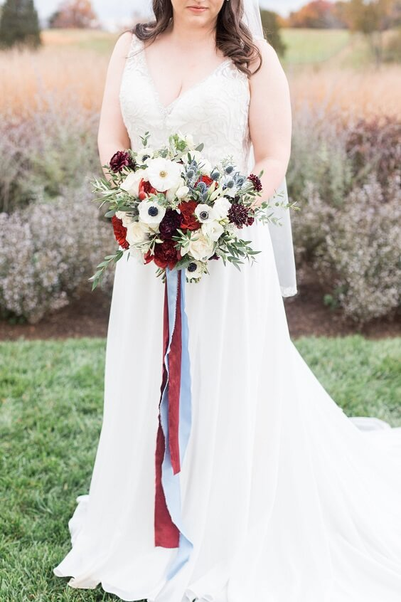 Classic Burgundy And Dusty Blue Fall Wedding Color Ideas Colorsbridesmaid