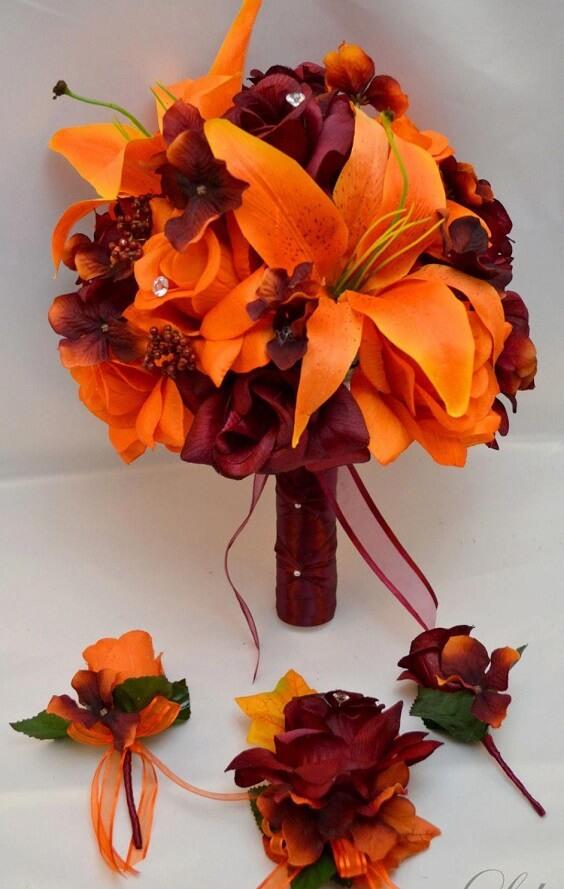 Bright Burgundy And Orange Fall Wedding Color Ideas