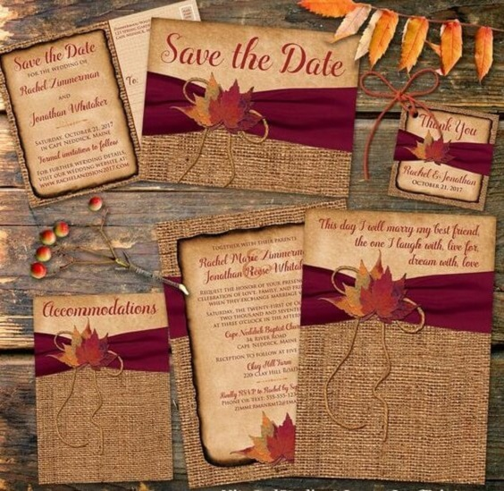 Fall Color Wedding Invitations: Bright Burgundy And Orange Fall Wedding Color Ideas