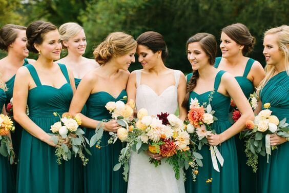 Teal Bridesmaid Dresses for Teal October Wedding