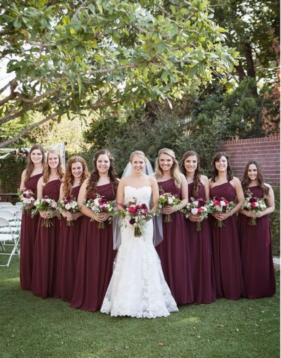 dc10217643b Classic Burgundy October Wedding Color Inspirations - ColorsBridesmaid