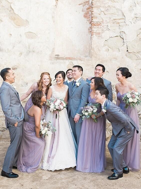lavender bridesmaid dresses and grey men's suits for summer wedding lavender bridesmaid dresses grey men's suits and centerpieces