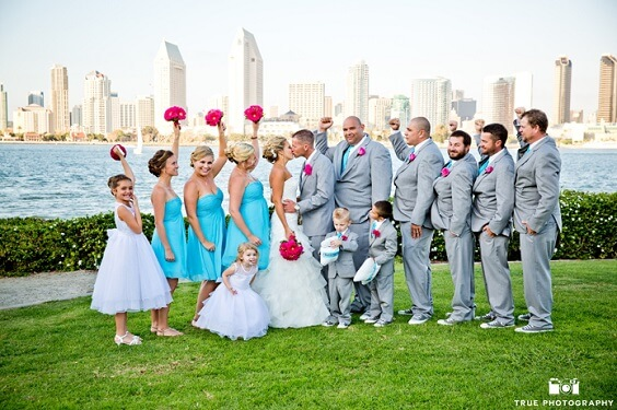 turquoise bridesmaid dresses and gray men's suits for summer wedding turquoise bridesmaid dresses fuschia wedding bouquets and gray men's suits