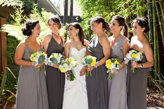 grey bridesmaid dresses for summer wedding grey bridesmaid dresses yellow wedding bouquets with greenery and grey men's suits