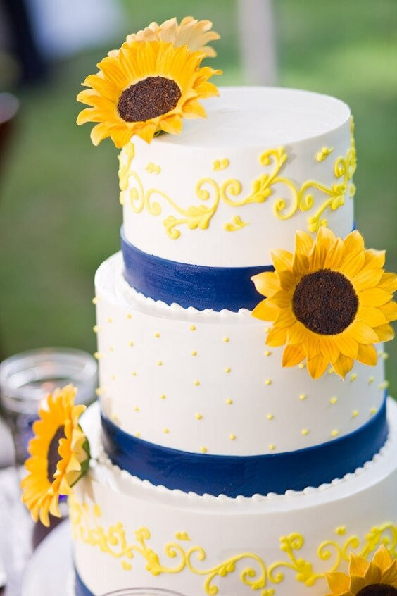 Sunflower And Royal Blue Wedding Bouquets