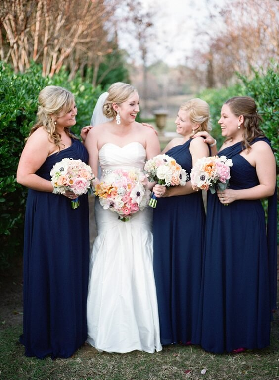 Blue Wedding Navy Blue Bridesmaid Dresses Paired With Peach And