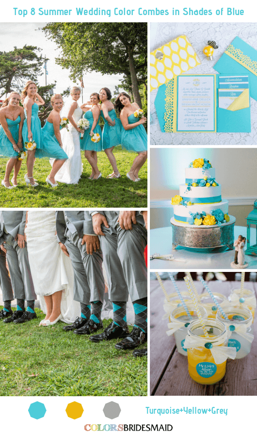 Blue Wedding - Turquoise Bridesmaid Dresses, Grey Men's Suits and Yellow Bouquets