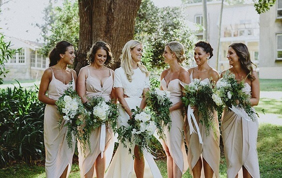 Champagne bridesmaid dresses and white bridal gown for Champagne and Green May Wedding